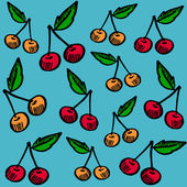 Cute seamless pattern with cherries, vector illustration background, hand drawn sketch — Stock Vector