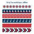 Set of summer sea washi tapes, ribbons, vector elements, cute design patterns — Stock Vector #47092083
