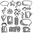 Set of office doodles, sketches, black isolated hand drawn icons, vector illustrations — Stock Vector