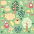 Cute colorful seamless forest vector pattern with animals hare and owl — Stock Vector #49646277
