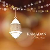 Illuminated arabic lamp, lantern with lights, vector illustration background for muslim community holy month Ramadan Kareem — Vecteur