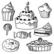 Set of various sweets, cakes and cupcakes, black isolated doodle sketches, vector illustrations — Stock Vector #50264047