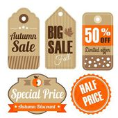 Retro set of autumn fall vintage sale and quality labels, cardboard tags, vector illustration — Stock Vector