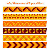 Set of autumn fall vintage washi tapes, ribbons, vector elements, cute design patterns — Vettoriale Stock