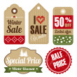 Retro set of winter christmas vintage sale and quality labels, cardboard tags, vector illustration — Stock Vector #51308151