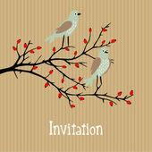 Cute vector background with birds on wild rose bush, birthday, wedding card, invitation, autumn fall design — Stock Vector