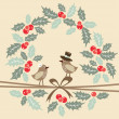 Retro christmas greeting card with birds and holly, vector — Stock Vector