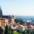 Panoramic view of the European city from the hill, Prague — Stock Photo