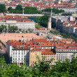 Panoramic view of the European city from the hill — Stock Photo