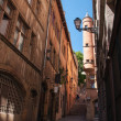 Narrow street in an old European city, France — Stock Photo