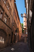 Narrow street in an old European city, France — Stock Photo