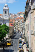 Pohled shora na ulici v lisabonu — Stock fotografie