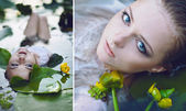 Beautiful girl lies in the water among the flowers. Сollage — Stok fotoğraf