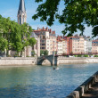 Stock Photo: Bridge and residential district in Lyon