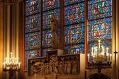 Stained-glass window inside the church — Stockfoto