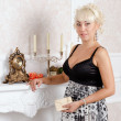 Pretty blonde woman in a luxury interior — Stock Photo