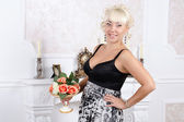 Pretty blonde woman in a luxury interior — Stock Photo