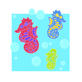 Sea horses - Illustration — Stock Vector