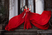 Queen in the red cloak — Stock Photo