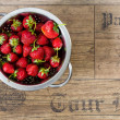 Stock Photo: Washed strawberries in colander