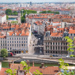 Panoramic view of the European city from the hill. Lyon, France — Stock Photo