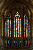 Stained-glass window inside the church — Stock Photo