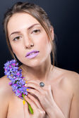 Сlose portrait of beautiful naked girl with bright makeup and s — Stock Photo
