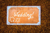 Autumn wedding wooden sign on the grass — Stock Photo