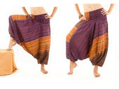 Multi-Color Harem Pants with Indian Pattern — Stock Photo