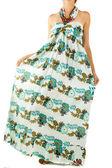 Lång klänning med orientaliska prydnad — Stockfoto