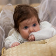 Adorable baby girl in white clothes — Stock Photo