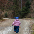 Little toddler girl walking in forest — Foto de Stock