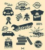 Auto Symbole und Beschriftungen — Stockvektor