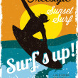 Surfer vintage poster — Stock Vector