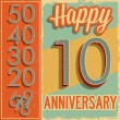 Anniversary card vintage style numbers — Stock Vector