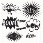 Comics Bubble Superhero bashing black and white — Stock Vector