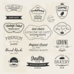 Постер, плакат: Premium Quality labels Guaranteed Coffee Bakery Hand made and Genuine labels