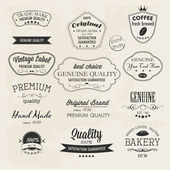 Premium Quality labels Guaranteed, Coffee Bakery Hand made and Genuine labels — Stock Vector