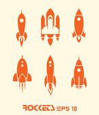 Iconos de cohete — Vector de stock