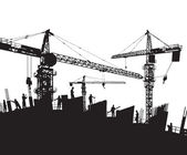 Construction site silhouette with cranes and workers — Stock Vector
