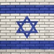 Flag of the Israel on brick wall — Stock Photo