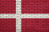 Flag of the Denmark on brick wall — Stock Photo