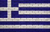 Flag of the Greece on brick wall — Stock Photo
