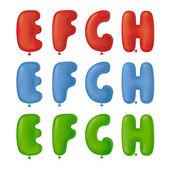 Balon yazı tipi efgh — Stok Vektör