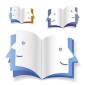 Bir insan yüzü olarak kitap — Stok Vektör