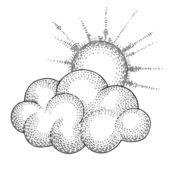 Vector Sun and Cloud — Stock Vector