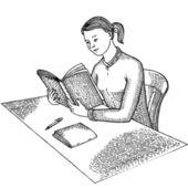 Kitap ile kız — Stok Vektör