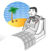 Ill man stays on the bed — Stock Vector