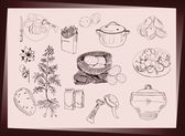 Potato food set. Hand drawn illustrations — Stock Vector