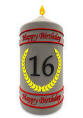 Birthday candle for 16th birthday — Stock Photo